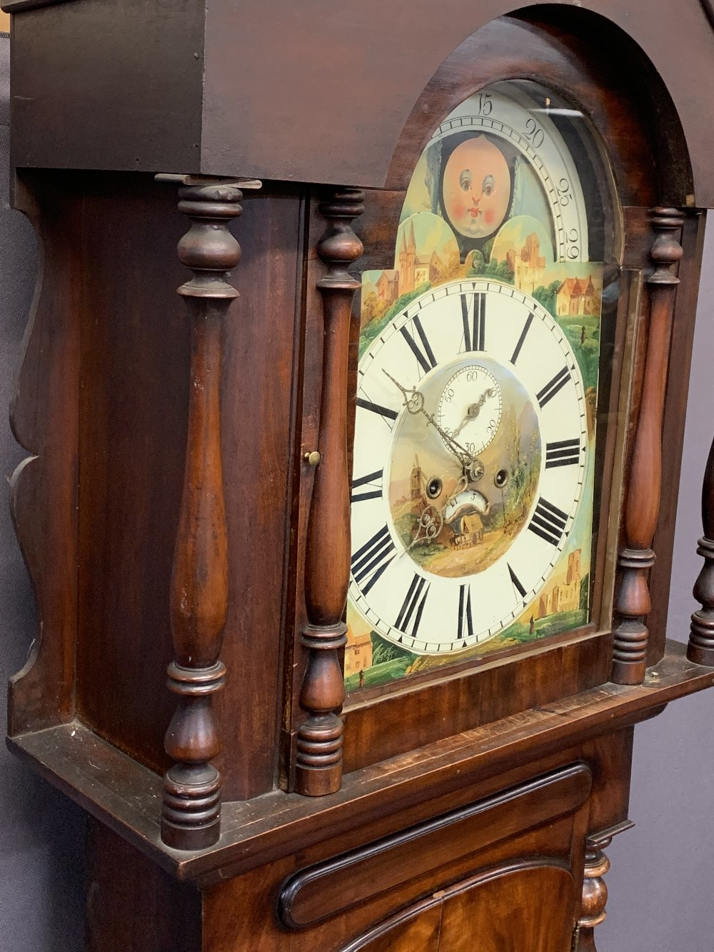 VICTORIAN MAHOGANY LONGCASE CLOCK - arched top, moon face dial with painted centre and spandrels set - Image 3 of 10