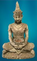 GARDEN STONEWARE - reconstituted statuary depicting an Eastern Buddhist figurine seated cross legged