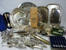 EPNS WARE - a good mixed quantity to include cased and loose cutlery, serving trays, grape scissors,