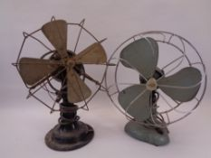 VINTAGE DESK FANS (2) - one black marked 'Revo', the other in a hammarite type blue marked '