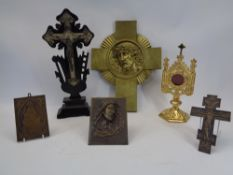 MIXED ECCLESIASTICAL TYPE METALWARE and a carved bog oak type cross, metalware includes a gilt brass