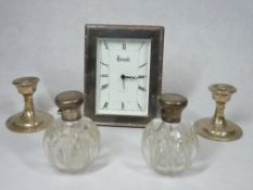 HALLMARKED SMALL SILVER, FIVE ITEMS - to include a Harrods Knightsbridge clock with silver mounted