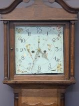 CIRCA 1840 OAK LONGCASE CLOCK - 13inch painted square dial set with Arabic numerals and subsidiary