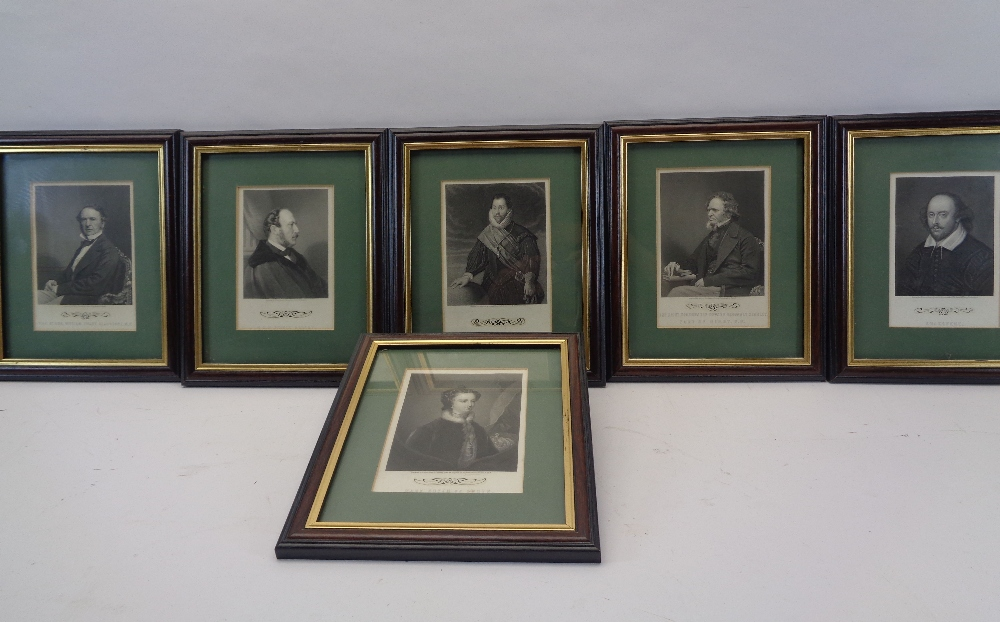 ENGRAVINGS - set of six neatly presented historical figures, 17 x 11cms