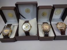 BRADFORD EXCHANGE GENT'S COMMEMORATIVE WRISTWATCHES (4) to include the King's Shilling, 100 years of