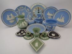 WEDGWOOD & OTHER JASPERWARE COLLECTION - approximately 18 pieces in blue, green and black