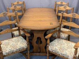 OLD CHARM STYLE EXTENDING DINING TABLE & SIX (4+2) UPHOLSTERED SEAT DINING CHAIRS - 75cms H,