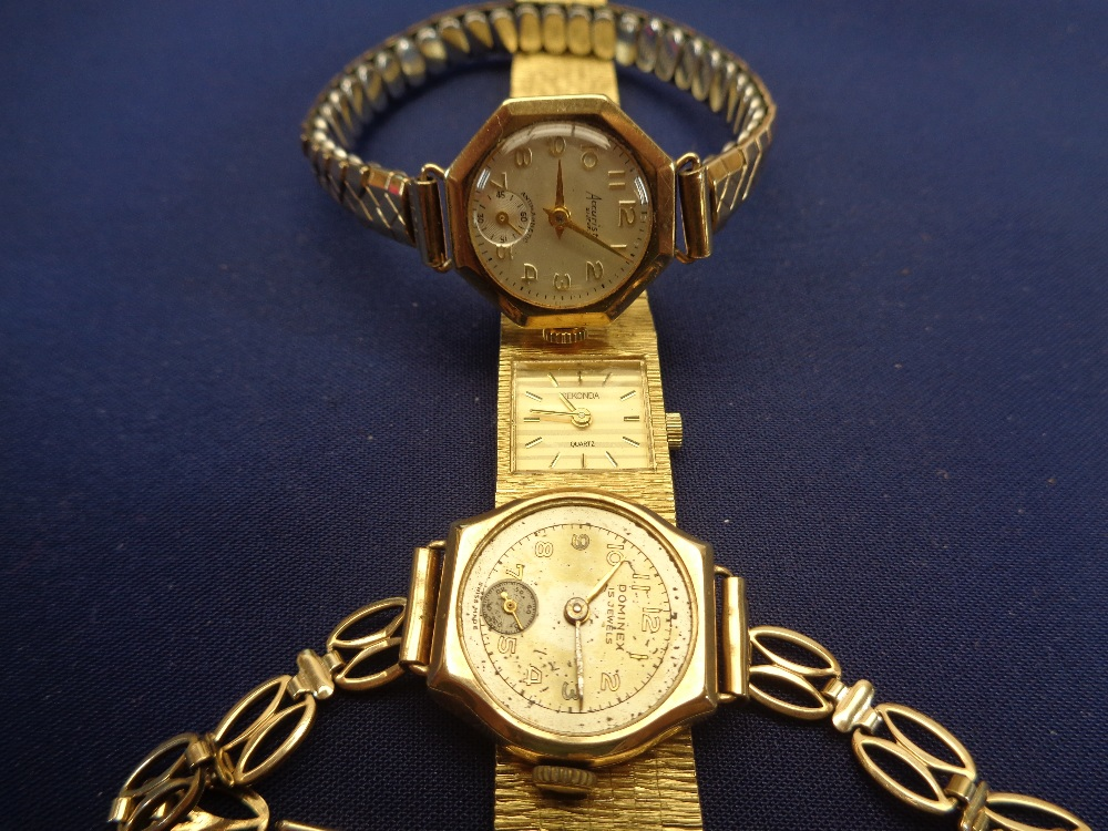 TWO 9CT GOLD CASED LADY'S WRISTWATCHES & ONE OTHER, all having gold plated straps
