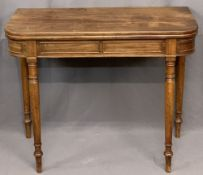 FOLDOVER TEA TABLE - mahogany on turned supports, 73cms H, 91cms W, 45cms D (closed)