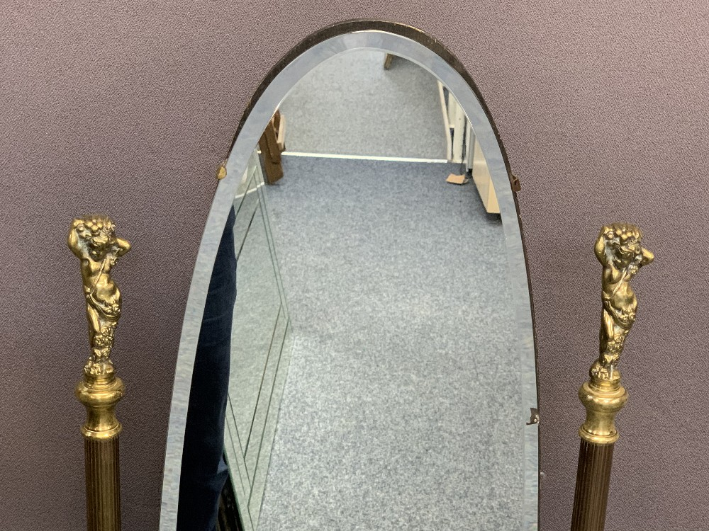 BRASS FRAME CHEVAL MIRROR & AN ULTRA MODERN UPLIGHTER STANDARD LAMP, 137.5cms H, 41cms W and - Image 2 of 2