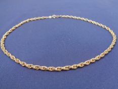9CT GOLD DOUBLE LINK NECKLACE - with clip clasp, 41cms L, 10.4grms