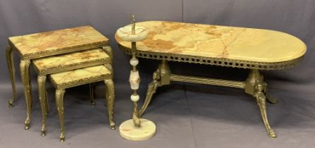 ONYX & BRASS OCCASIONAL FURNITURE SUITE - oval top coffee table with pierced lower frieze on four