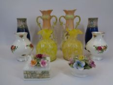 VINTAGE & LATER VASES, FOUR PAIRS and two porcelain cabinet posies including a Royal Doulton