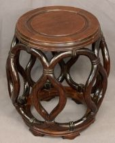 CHINESE BARREL SHAPED OCCASIONAL TABLE, 46 x 32cms diameter
