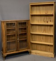 VINTAGE GLASS FRONTED BOOKCASE & ONE OTHER, both having adjustable shelves, 117cms H, 92cms W, 28.