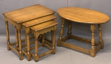 REPRODUCTION OAK OCCASIONAL TABLES including a set of three on turned and block supports, 48cms H,