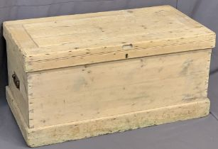 STRIPPED PINE BLANKET BOX - with iron handles, 49cms H, 102cms W, 54cms D