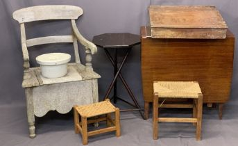 MIXED VINTAGE & LATER FURNITURE PARCEL, 6 ITEMS - a vintage commode, hexagonal top table, two string
