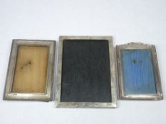 SILVER FRONTED PHOTOGRAPH FRAMES (3) - Birmingham hallmarks, various dates and conditions, 20 x