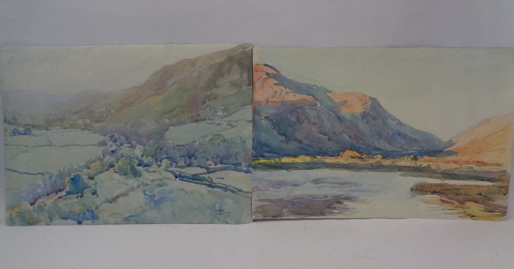 MURRAY MCNEEL CAIRD URQUHART (1880 - 1972) two unframed watercolours - Gwynedd mountains and