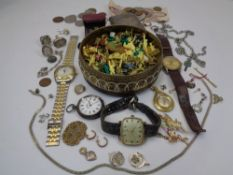 MIXED SILVER, JEWELLERY, COINS, WATCHES ETC to include a Common Prayer pocketbook with cherubic