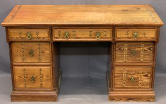 CIRCA 1900 PITCH PINE PEDESTAL DESK Stamped 'W Snowdon Rochdale', aesthetic movement style with