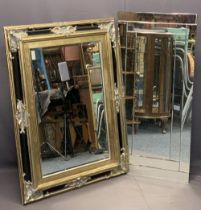STYLISH MODERN WALL MIRRORS (2) - an unframed example with bevel edged detail, 27cms H, 61cms W
