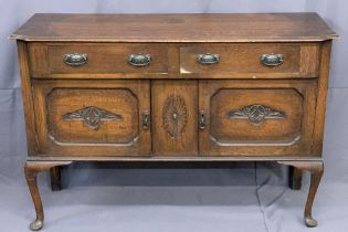 EDWARDIAN SIDEBOARD - with two drawers over two door cupboard with carved panels, 93cms H, 138cms w,