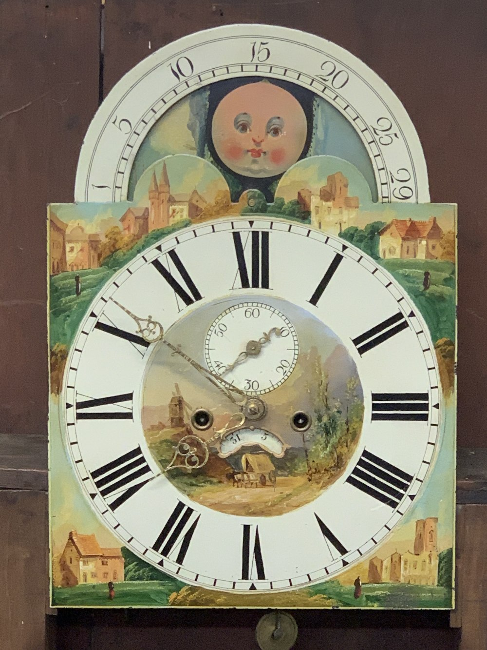 VICTORIAN MAHOGANY LONGCASE CLOCK - arched top, moon face dial with painted centre and spandrels set - Image 6 of 10