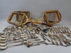 VINTAGE TENNIS/BADMINTON RACQUETS and a quantity of EPNS cutlery, loose