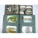 VINTAGE POSTCARD & PHOTOGRAPH ALBUMS WITH CONTENTS - approximately 200 postcards depicting local and