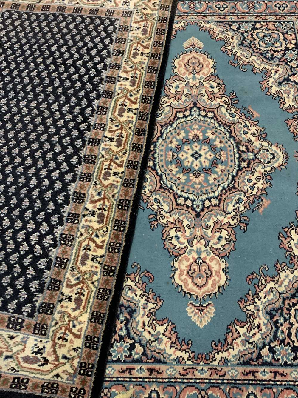 INDIAN 100% WOOL & OTHER BLUE GROUND CARPETS (2) - the Indian example with central repeating block