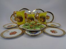 FRUIT DECORATED CABINET WARE, JUGS & WALL PLATES