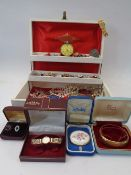 VICTORIAN & LATER JEWELLERY, WATCHES ETC IN A VINTAGE JEWELLERY BOX to include a Miracle stone set
