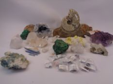POLISHED FOSSILS, QUARTZ CRYSTAL, MALACHITE and other mineral type collectables, a good selection