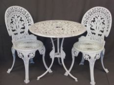 GARDEN FURNITURE - white painted circular metalware table, 69cms diameter and two chairs