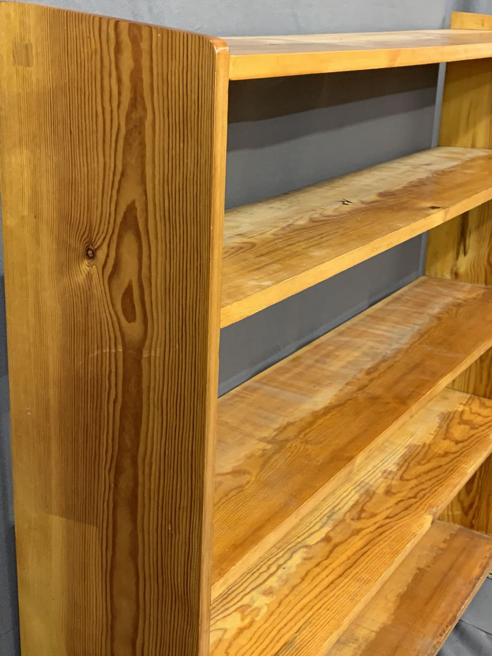 PINE BOOKCASES (2) -195cms H, 92cms W, 20cms D and 127cms H, 131cms W, 26cms D - Image 3 of 3