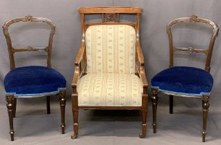 CIRCA 1900 SALON CHAIRS (3) including a quality mahogany example with carved detail to the crest and