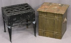 CAST IRON FOOTMAN & A BRASS TWO-HANDLED SQUARE TOPPED COAL BOX with banded detail, 38cms H, 35cms W,