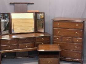 STAG MINSTREL BEDROOM FURNITURE, 4 ITEMS - a multi-drawer chest, 112cms H, 81cms W, 47cms D,