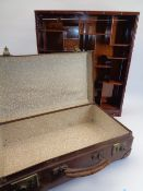 CHINESE HARDWOOD WALL HANGING DISPLAY RACK & A VINTAGE SUITCASE, 57.5cms H, 50cms W, 11cms D and