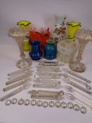 VICTORIAN LUSTRES & MIXED COLOURFUL GLASSWARE - the lustres in white and gilt decorated overlay