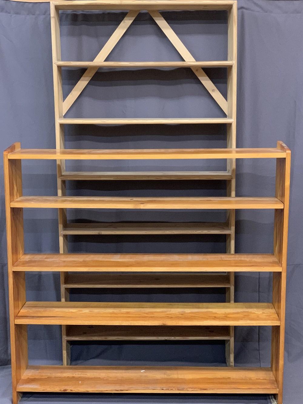 PINE BOOKCASES (2) -195cms H, 92cms W, 20cms D and 127cms H, 131cms W, 26cms D