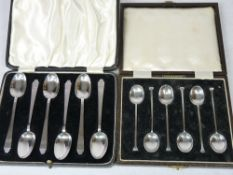 SILVER COFFEE SPOONS - 1. A cased set of six with shaped and tapered handles, Sheffield 1938, 2.3ozs