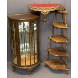 VINTAGE FURNITURE PARCEL, 3 ITEMS - a neat Demi-lune mirrored back China display cabinet, 117cms
