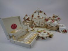 ROYAL ALBERT OLD COUNTRY ROSES PART TEASET, TABLE & CABINET WARE - 30 plus pieces to include a boxed
