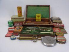 ROSEWOOD CASED VINTAGE DRAWING INSTRUMENT SET, base metal 50 year calendar, quantity of vintage