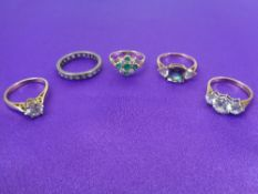9CT YELLOW & WHITE GOLD DRESS RINGS (5) - measurements size M, mid M-N, P, Q and the white gold