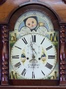 EIGHT DAY LONGCASE CLOCK - Edwards of Holyhead with painted moon over a square dial, mahogany,