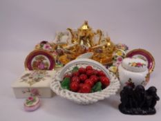 CZECHOSLOVAKIA GILT COFFEE SERVICE, ROYAL ALBERT OLD COUNTRY ROSES and other cabinet posies and